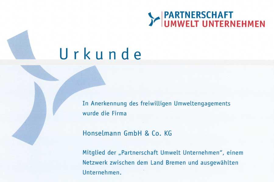 Honselmann Urkunde Umwelt Unternehmen